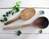Set of 2 antique French large spoons to shape the butter. farm primitive, hand carved French Farm House Rustic Spoon