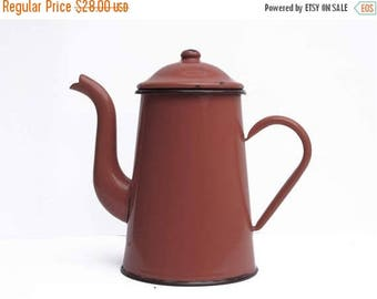 French Vintage red  Enamel  coffee pot, bright tea pot, enamelware red Kitchen  Decor, French Country, Rustic French Decor,