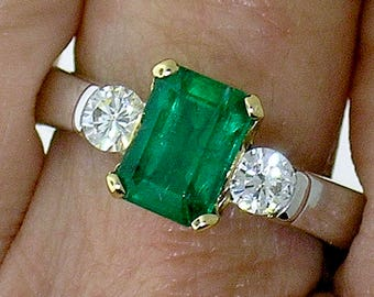 EMERALD DIAMOND RING~1.44ct Emerald with Diamond Accents set in Platinum