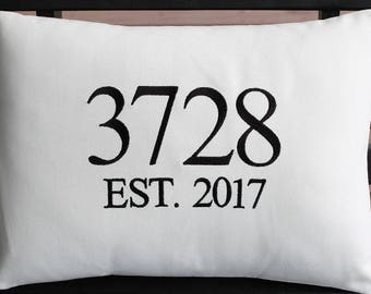 Outdoor Pillow Cover in Natural White | House Number | Street Number | Zip Code | Personalized | Housewarming | Wedding | Date | Established