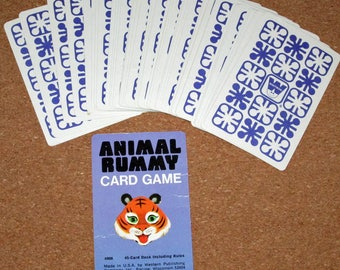 Vintage Animal Rummy Card Deck Playing Cards by Whitman