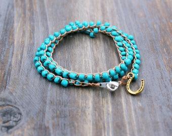 turquoise horse bracelet, horse jewelry, gift for horse lover, horse shoe bracelet, beaded jewelry, crocheted wrap bracelet, equestrian