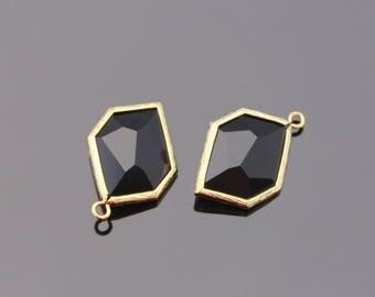 Jewelry Supplies, Gold Unique Glass Drop Pendant, Jet Black Glass Stone, 2 pc, JW7134
