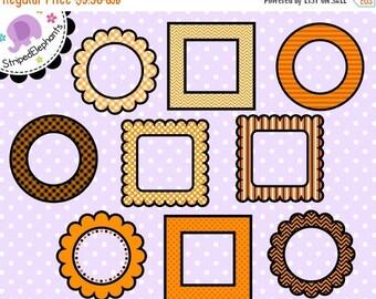 40% OFF SALE Halloween Fall Orange Digital Frames - Digital Scrapbook Frames - Instant Download - Commercial Use