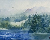 Original watercolor ACEO painting - Highland