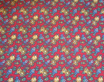 Floral Print, Tiny flowers on a Red background