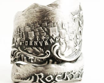 Denver Skyline Ring, Colorado Rockies, Sterling Silver Spoon Ring, Colorado Gift for Him, Southwestern Ring, Antique Adjustable Ring (6648)
