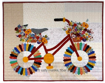 Whimsical Bicycle Art Quilt   Original Design  Wall Art Cycle   Art Modern Floral Bike  Vintage Bike with Flower Basket  Office Home Decor