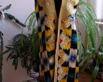 Vintage Uzbek ikat atlas women's  vest gold embroidery