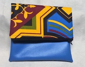 Vegan Leather and African Print fold over clutch purse with tassel zipper ankara fabric date night bridesmaid gift handbag tribal print bag