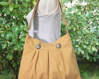 On Sale 20% off yellow cotton canvas bag / shoulder bag / messenger bag / diaper bag / cross body travel  bag, zipper closure