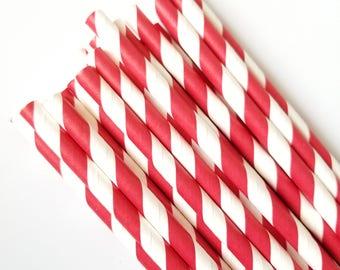 Red and White Stripe Paper Straws - Paper Straws - Set of 25 - Birthday Party Decor - Valentine's Day Straws