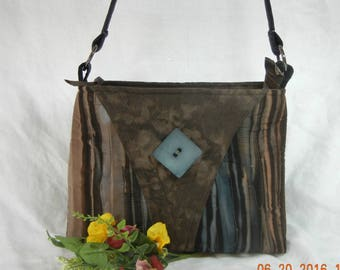 Quilted Shoulder Purse - Zip Closure and Pocket, Blues and Brown Hand Dye Stripe - Medium