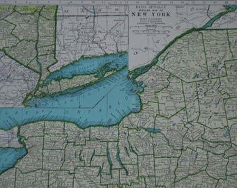 New York State Original Vintage Map Print