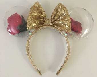 Enchanted rose with fallen petals mouse ears