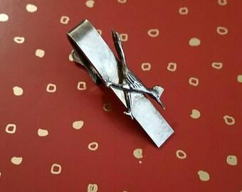 Lovely Vintage Sterling Silver Road Runner Tie Clip Bird Pin