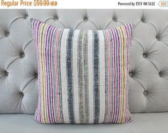 "10 - DAY - SALE 18""x18"" Vintage Hmong Handwoven Hemp Fabric-vintage Homespun hemp, Scatter cushions and pillows,"