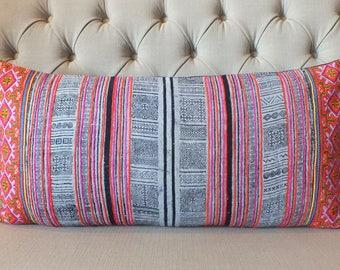 10 - DAY - SALE Bolster Cushions, 16x32, Pillow case, Vintage Hmong Hemp cushion cover, Handwoven Hemp Fabric,Scatter cushions,