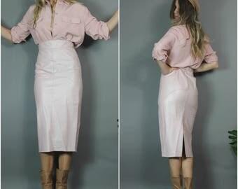 Vintage Leather Skirt Pale Pink Pencil Skirt