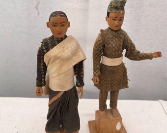 Vintage Carved Wood Indonesian Ethnic Figures
