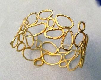Summer SALE Sterling Silver Vermeil Hammered cell Bangle bracelet ooak