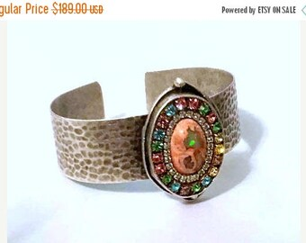 SUMMER Sale Mexican opal and crystal cuff bracelet