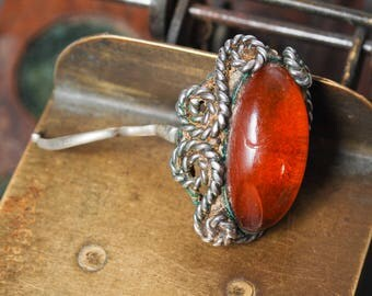Vintage connector, part of pressed Baltic amber ring.