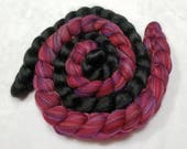 Multi-Colored Merino Cranberry and Black Alpaca/Silk 80/20 Combed Top - 2 oz each  - Wool Spinning Roving Fiber