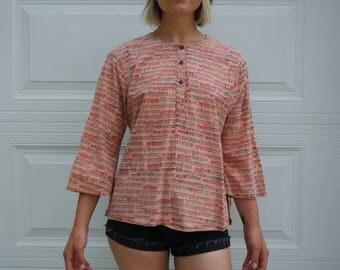 Vintage Hippie Boho Indian Cotton Tunic Shirt- Size S/ M