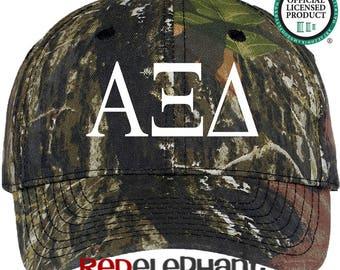 Alpha Xi Delta Hat, Monogrammed Camo Hat, Monogram Baseball Cap, Monogram Camouflage Hat, Personalized Baseball Hat, Sorority Gift,  Cap