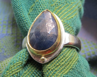 Rose Cut Sapphire Teardrop with 22K Gold Bezel in Granulated Silver Ring Size 9