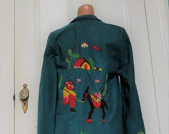 Vintage 1950's Mexican Hand Embroidered Jacket Cactus Burro Sombrero sm/med.