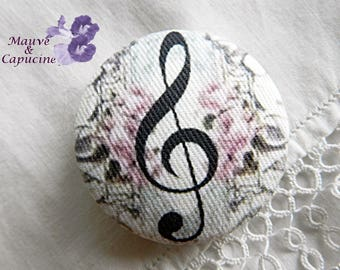 Fabric button, music, 1.25 in / 32 mm