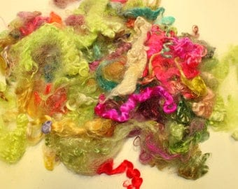 Fine Mohair curls  hand dyed