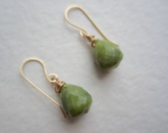 14k GF Green Jade Drop Earrings