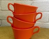Vintage Set of 4 Orange Retro Allied Chemical Melmac Tea / Coffee Cups