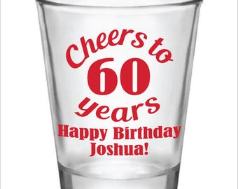 60th Birthday Party Favors Personalized Shot Glasses - Cheers to 60 Years - Custom Name and Date Party Ideas - 1.5oz Glass Shot Glasses