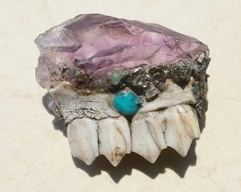Amethyst Deer Jaw Toggle Button With Turquoise, Pyrite, and Opal