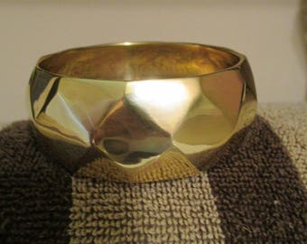 Vintage Brass Wide Cuff Bracelet/Diamond Design