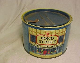 Vintage Bond Street Pipe Tobacco Philip Morris New York, Round Tobacco Tin Can, Man Cave Decor No.3