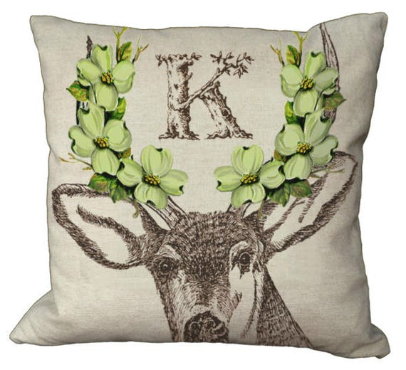 Shabby Chic Deer Pillow : Shabby and Chic Deer with Green Dogwood Blossoms Rustic