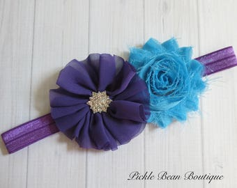Purple Turquoise Headband, Flower Headband, Baby Headband, Infant Headband, Girls Headband, Headband, Birthday Headband, Purple Head Band
