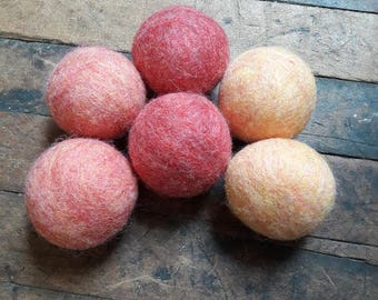 Wool dryer balls set of 6 Wildflowers, Free Shipping in USA reusable eco friendly alternative to dryer sheets