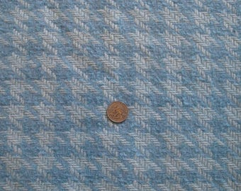 Blue Wool Houndstooth Check Fabric Baby Blue & White 1960s