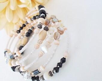 Black and White Wrap Bracelet, Beach Jewelry, Boho Cuff, Memory Wire Bracelet, Gift for Her Under 50, Wood Beaded Bracelet, Stocking Stuffer