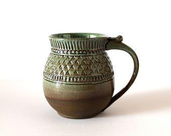 Pottery Mug, Handmade Pottery Coffee Mug, Tea Mug, Green Mist Glaze over Dark Chocolate Claya