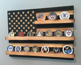 """12"""" x 15"""" - 20 Coin Challenge Coin Display Case Holder - Black and White US Flag - Military Army Navy Air Force Marines Coast Guard Burned"""