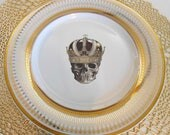 New Gold Skull Plates Crown Dishes - Foodsafe, PAYMENT PLANS AVAILABLE, Halloween Dinnerware, Skeleton Dishes, Skull China, Skull Dishes