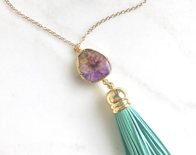 Tassel Necklace. Leather Tassel Necklace. Colorful Stone and Turquoise Tassel Necklace. Long Tassel Necklace. Boho Tassel Jewelry.