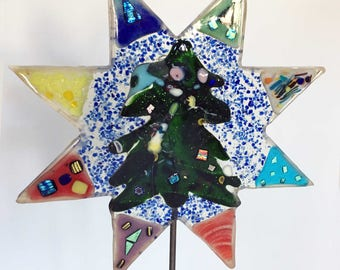 Fused Christmas Tree Garden Stake
